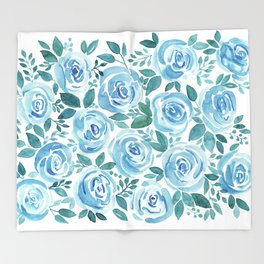 Pale blue roses . Watercolor . Throw Blanket