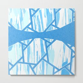 Abstract Blue Mosaic Design Metal Print