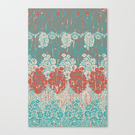 floral paisley in vermillion and teal Canvas Print