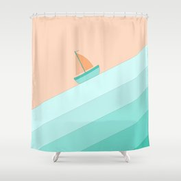Boat on the Water #1 Shower Curtain