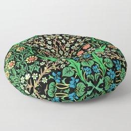 William Morris Jacobean Floral, Black Background Floor Pillow