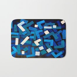 """Original Abstract Acrylic Painting by Ejaaz Haniff """"Blue Jazz"""" Blue Geometric Colorful Pattern On Bl Bath Mat"""