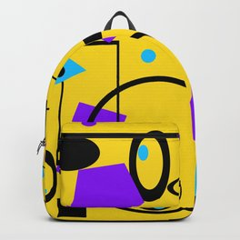 Retro abstract print yellow Backpack