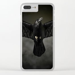 Black raven, crow flight Clear iPhone Case