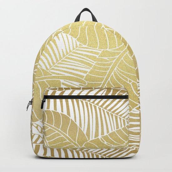 Golden tropical leaves Backpack