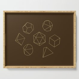 Outline of Dice in Gold + Brown Serving Tray