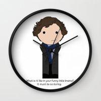 sherlock holmes Wall Clocks featuring Sherlock Holmes by Jen Talley