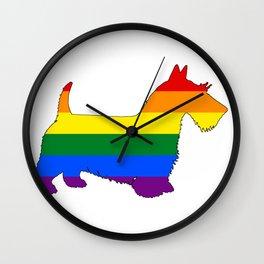 Rainbow Scottish Terrier Wall Clock