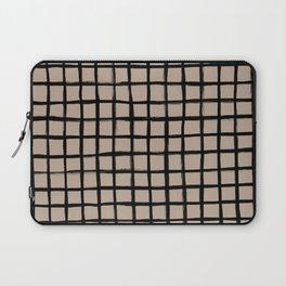 Strokes Grid - Black on Nude Laptop Sleeve