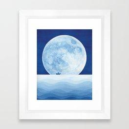 Full moon & paper boat Framed Art Print