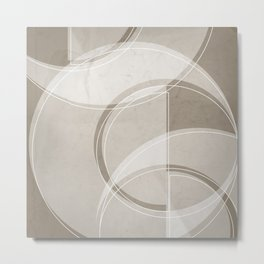 Where the Circles and Semi-Circles Meet in Taupe Metal Print