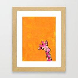 Baby Pink Giraffe Framed Art Print