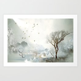Loch Lovely Abstract Art in Teal Art Print