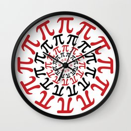 Math Geek Chic Number Pi In Red Black and White Wall Clock