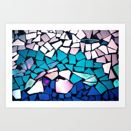 Turquoise and blue mosaic-(photograph) Art Print