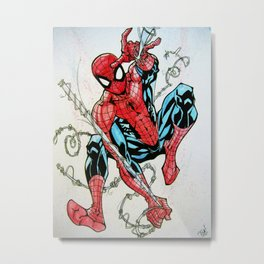 Wall Crawler Spider-Man Metal Print