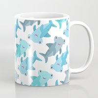 shark Mugs featuring Shark by Michelle McCammon