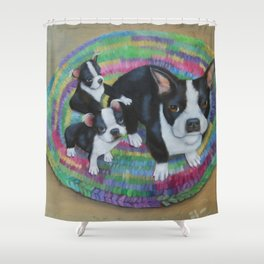 Boston Terrier and Puppies Shower Curtain