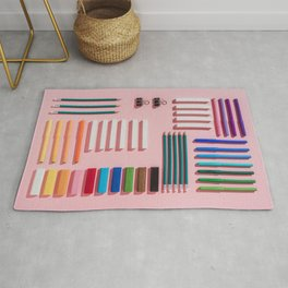 Chalks, pens, pencils and modeling clay Rug