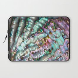 Glowing Cotton Candy Pink & Green Abalone Mother of Pearl Laptop Sleeve