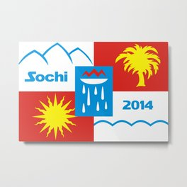 Sochi 2014 flag - Authentic version Metal Print