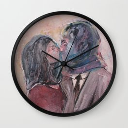 Lovers from Magrite Wall Clock
