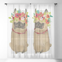 Cute pug with cute wreath flower Sheer Curtain