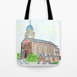 University of Dayton watercolor, UD Chapel, Dayton, OH Tote Bag