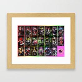 Kamen Rider Heisei Era Main Riders 20th Anniversary Framed Art Print
