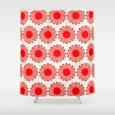 vintage flowers red Shower Curtain