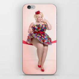 """""""Put a Bow On It"""" - The Playful Pinup -  Christmas Bows Curvy Pin-up by Maxwell H. Johnson iPhone Skin"""