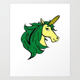 Cartoon Unicorn on the Cob. Cornstalk pun Art Print