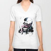 venom V-neck T-shirts featuring Venom  by Liam Shaw Illustration