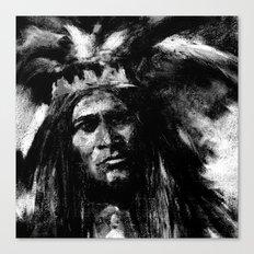 Primal - B&W Portrait of Native American Canvas Print