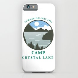Camp Crystal Lake Retro 80s Slasher Horror Halloween Design iPhone Case