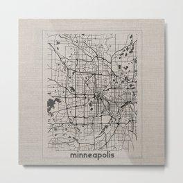 Minneapolis Minnesota Map-Minimalism Metal Print
