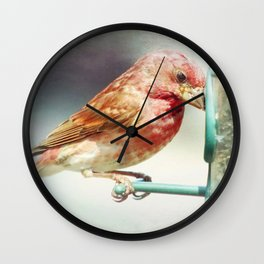 Purple Finch Wall Clock
