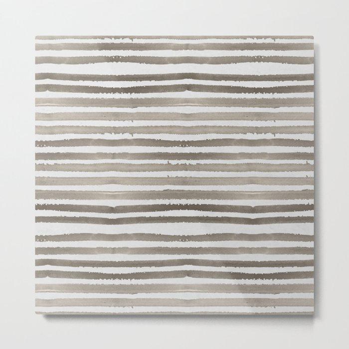 Simply Shibori Stripes Earth Brown on Lunar Gray Metal Print
