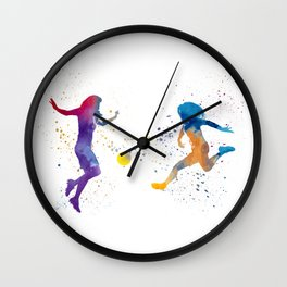 Women soccer players 01 in watercolor Wall Clock