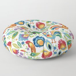 Polish Folk Roosters White Floor Pillow