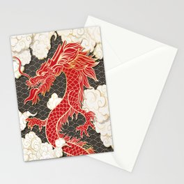 Chinese Red Dragon Stationery Cards