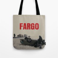 fargo Tote Bags featuring Fargo Movie Poster  by FunnyFaceArt