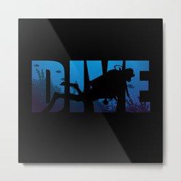 Diver Design For Deep Sea Or Amateur Divers Metal Print