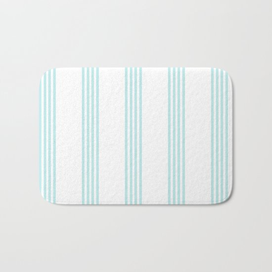 Striped I - Turquoise stripes on white- Beautiful summer pattern Bath Mat