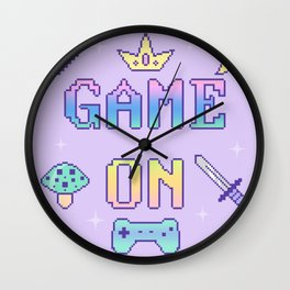 Game On (pastel) Wall Clock