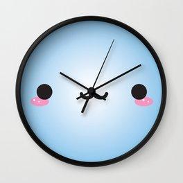 Kawaii Face (Blue) Wall Clock