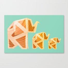 Wooden Origami Elephants Canvas Print