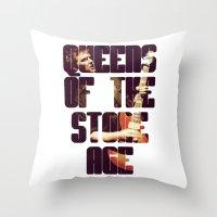 queens of the stone age Throw Pillows featuring Queens Of The Stone Age QOTSA Font Josh Homme Guitar by Fligo
