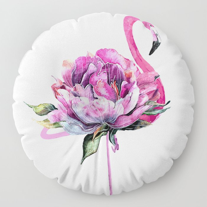 Flower Flamingo Floor Pillow