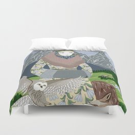 Lady with an owl and a dog Duvet Cover